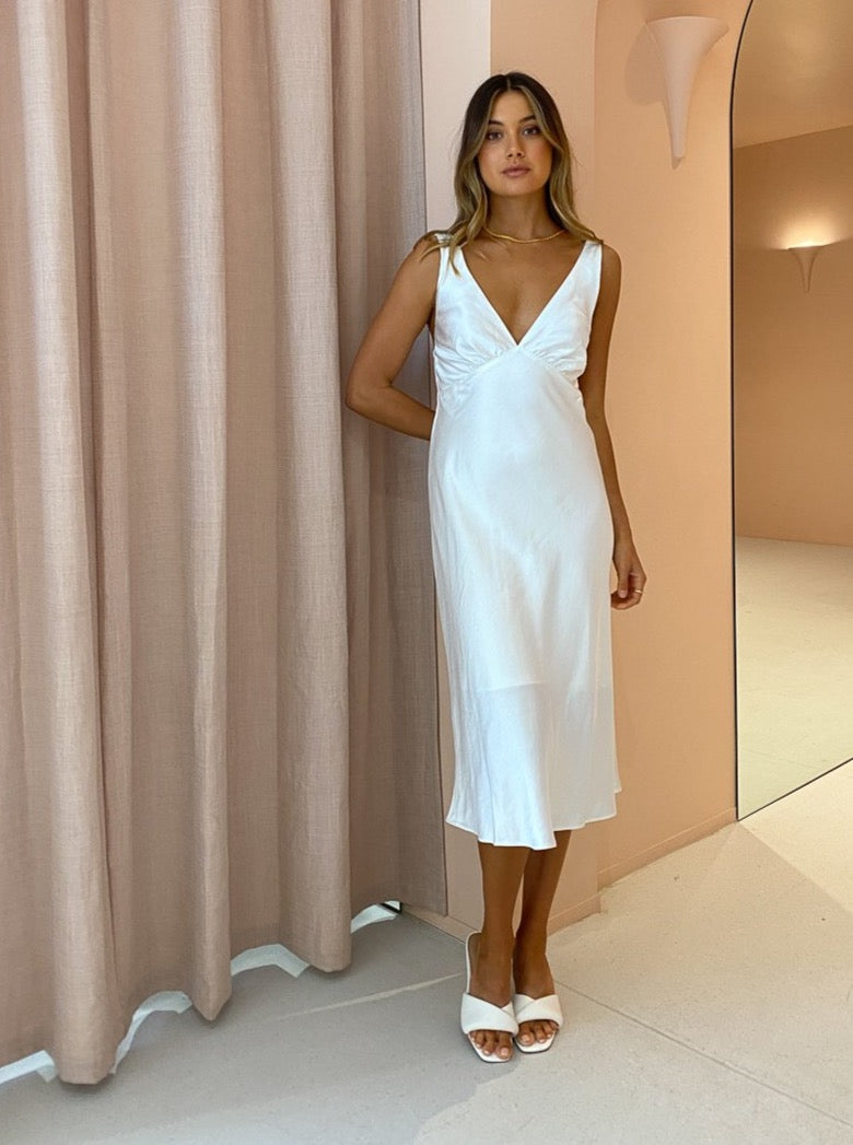 Third Form Gather Bra Bias Slip Dress in Off White