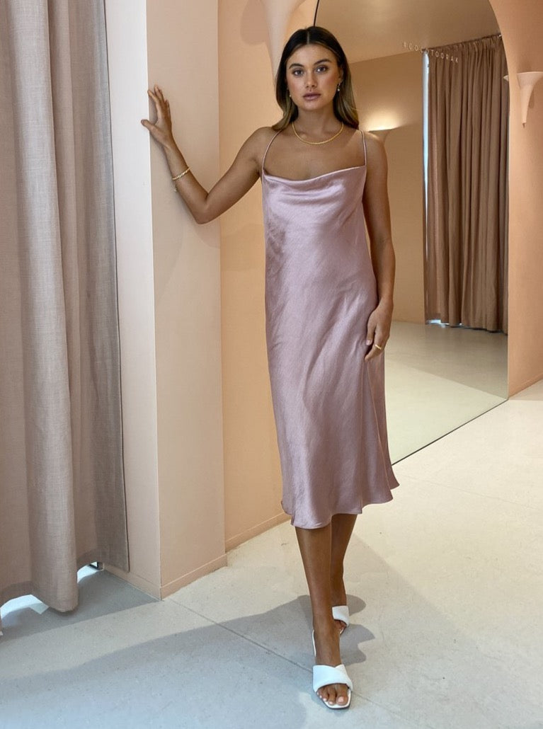 Third Form Cross Back Cowl Bias Slip Midi Dress in Blush