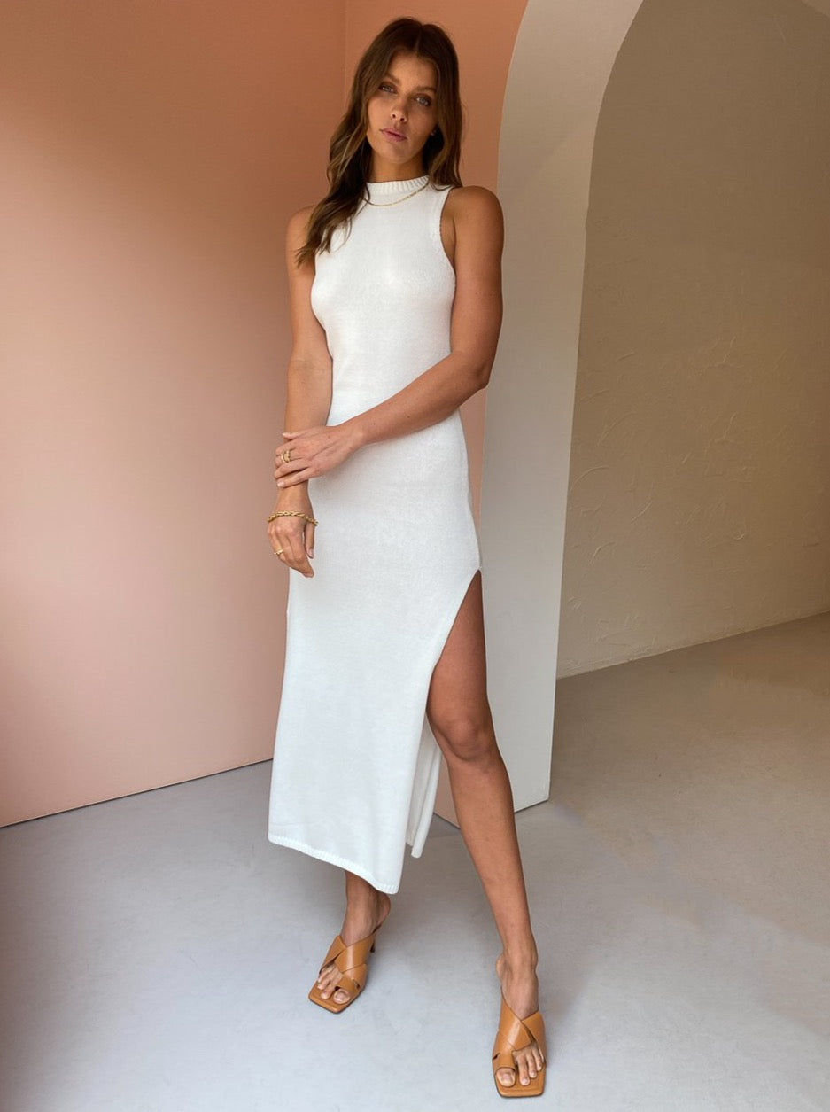 Third Form Cast Away Knit Maxi Tank Dress in Off White