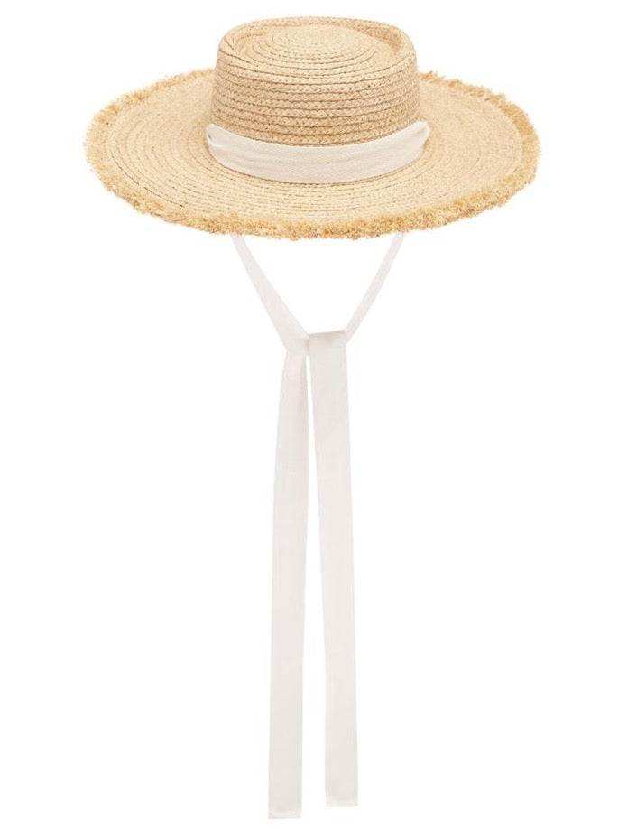 Avenue Stella Fray Boater Hat in Natural