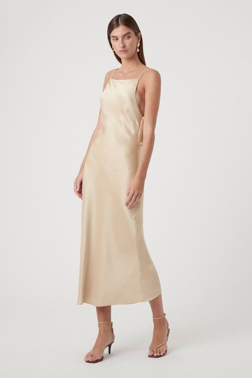 Camilla and Marc Antonelli Backless Dress in Champagne