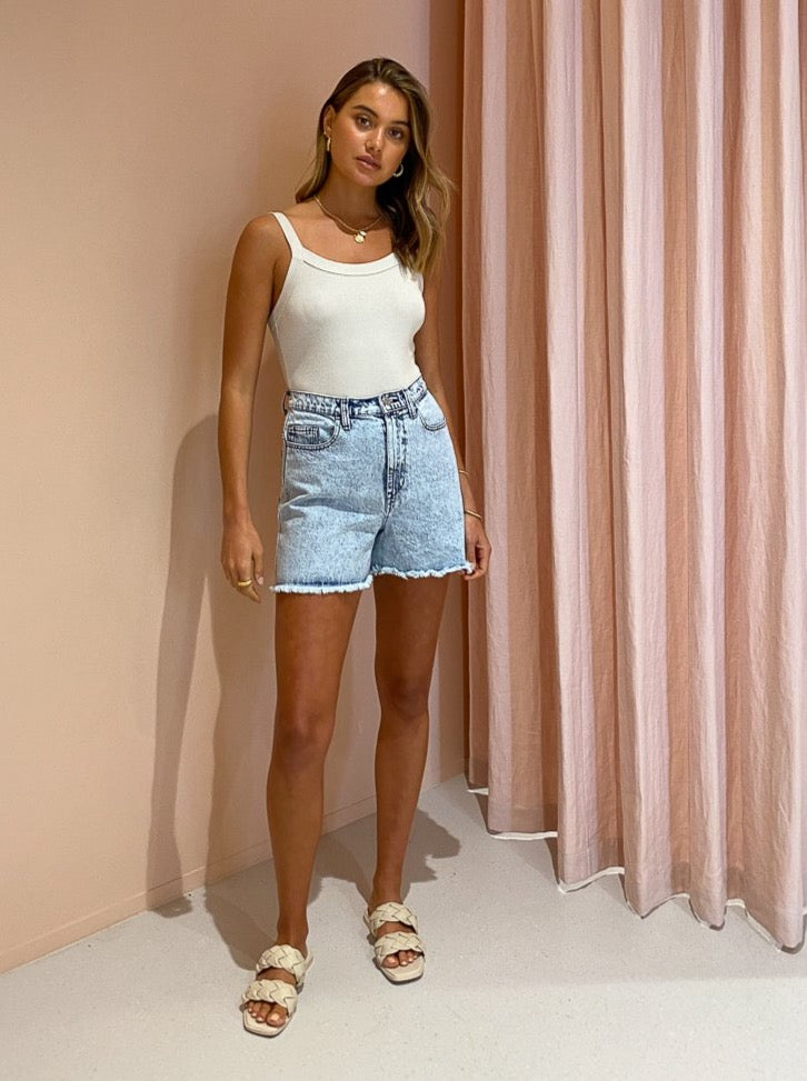 Viktoria & Woods Thunderbird Short in Acid Denim