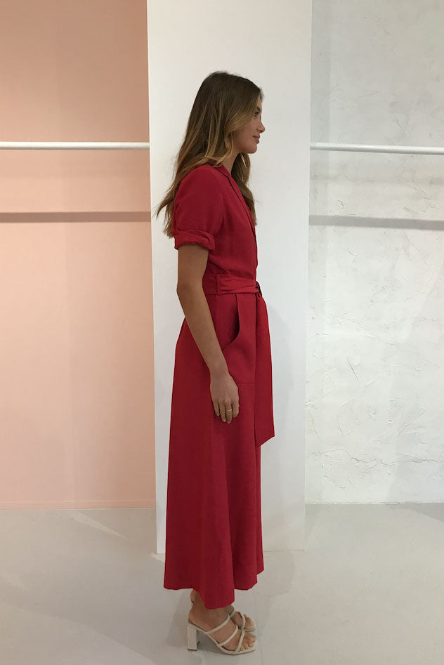 Viktoria and Woods Onassis Jumpsuit in Raspberry