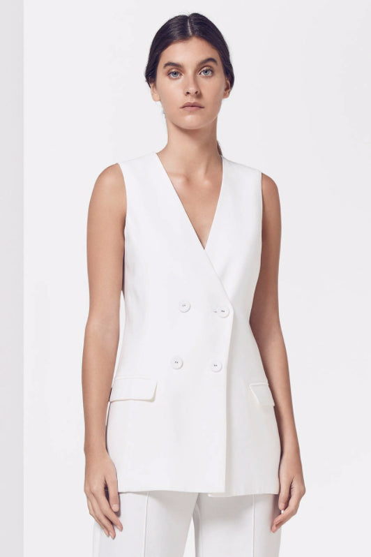 Viktoria and Woods Lighthouse Sleeveless Blazer in Ivory