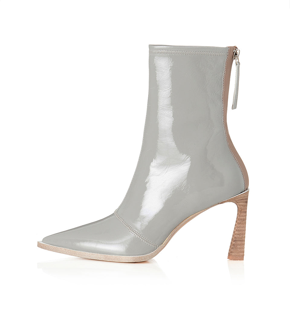 Alias Mae Zali Ankle Boot in Grey Crinkle Patent