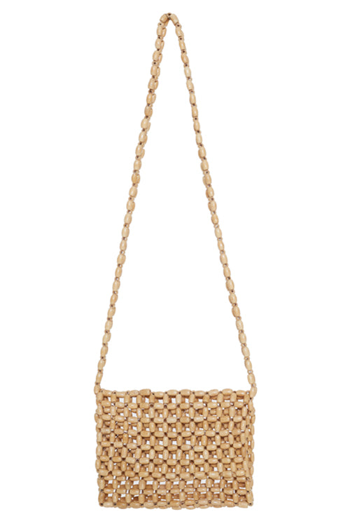 Faithfull the Brand Beaded Cross Body Bag in Natural