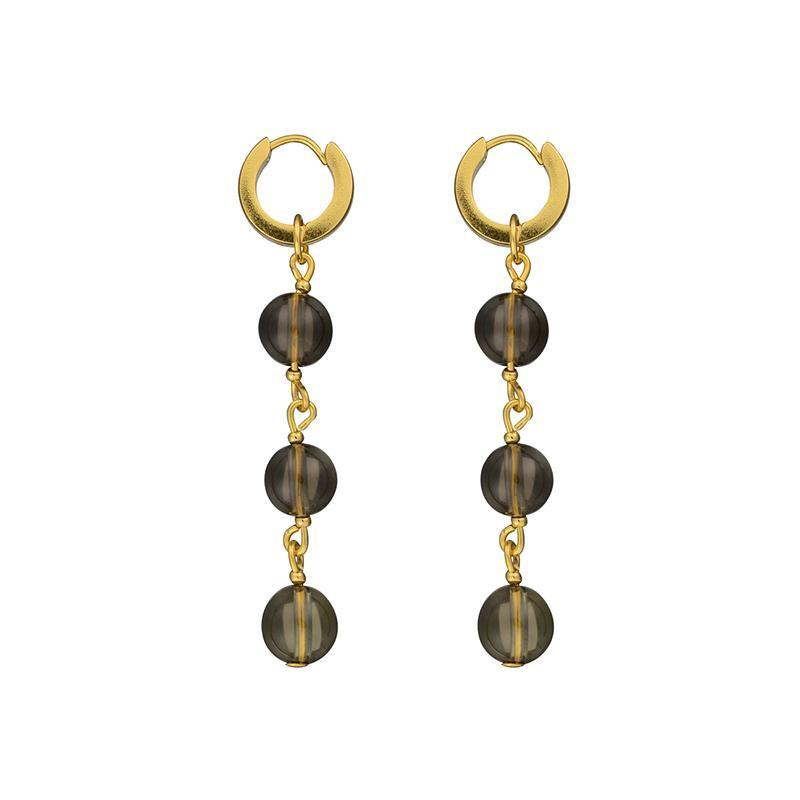 Brie Leon Triple Bead Drop Earring in Gold/Smoke