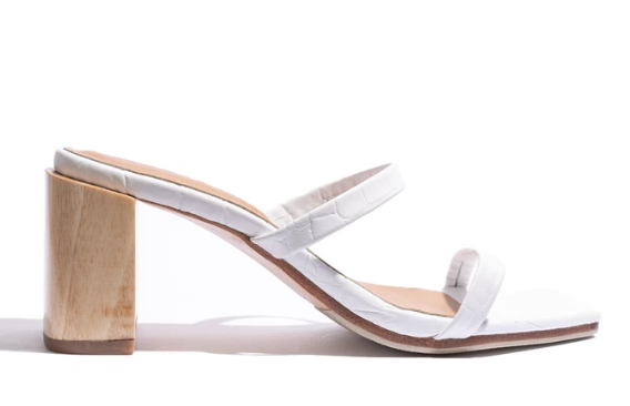 James Smith Sinenuse Strap Sandal in White Croc