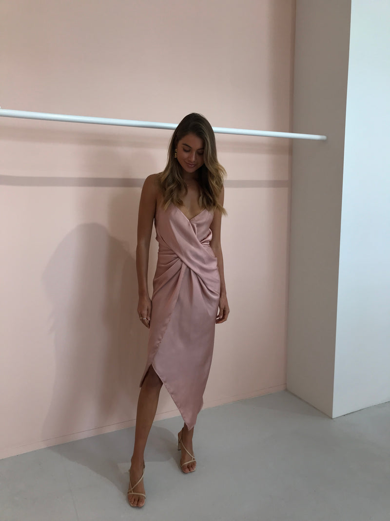 One Fell Swoop Le Luxe Midi Dress in Dusty Rose