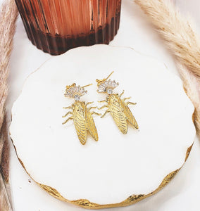 Pink Art Deco Cicada Earrings