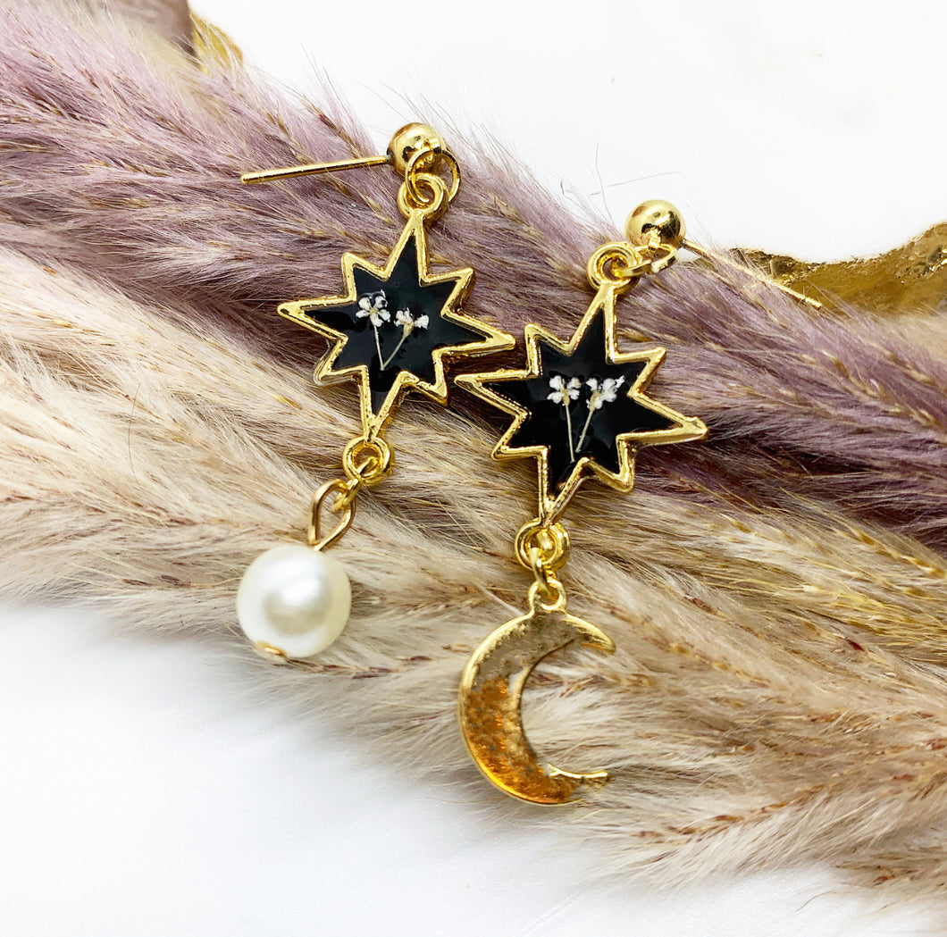 Sun & Moon Lace Flower Star Earrings