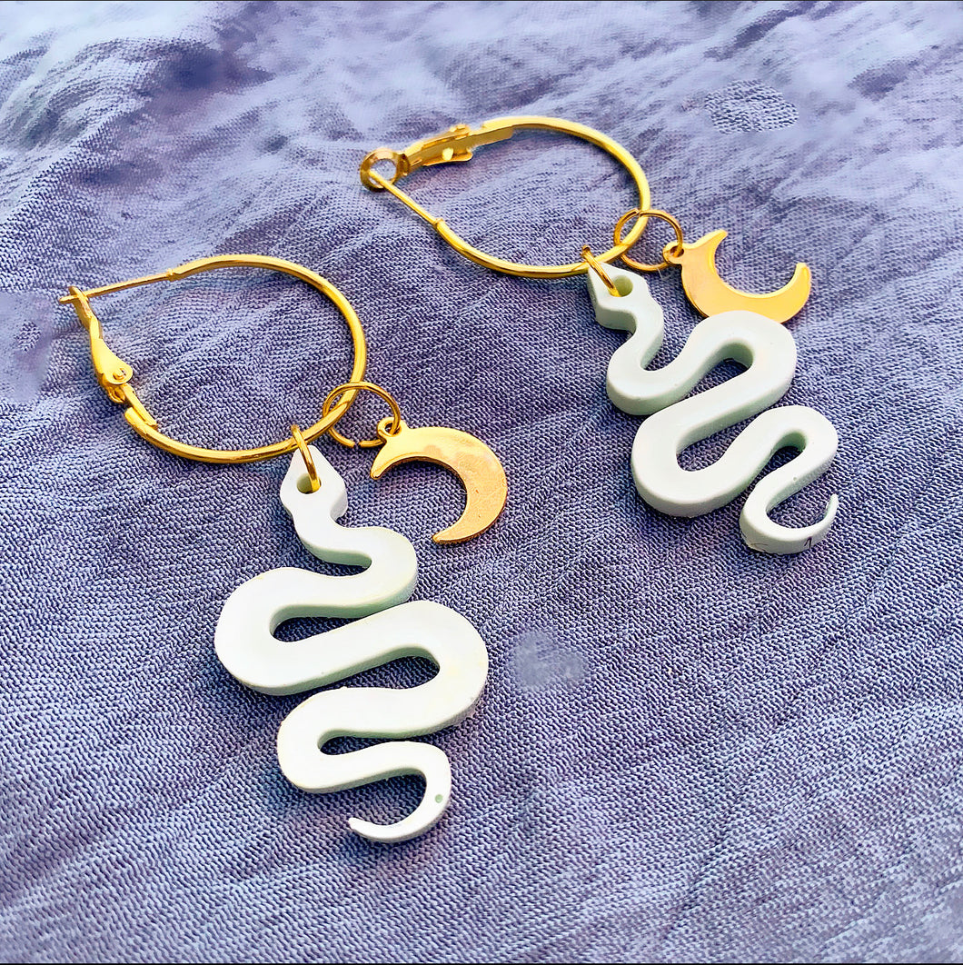 Sage Snake Hoops with Crescent Moon