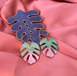 Cosmo Monstera Hoop Earrings