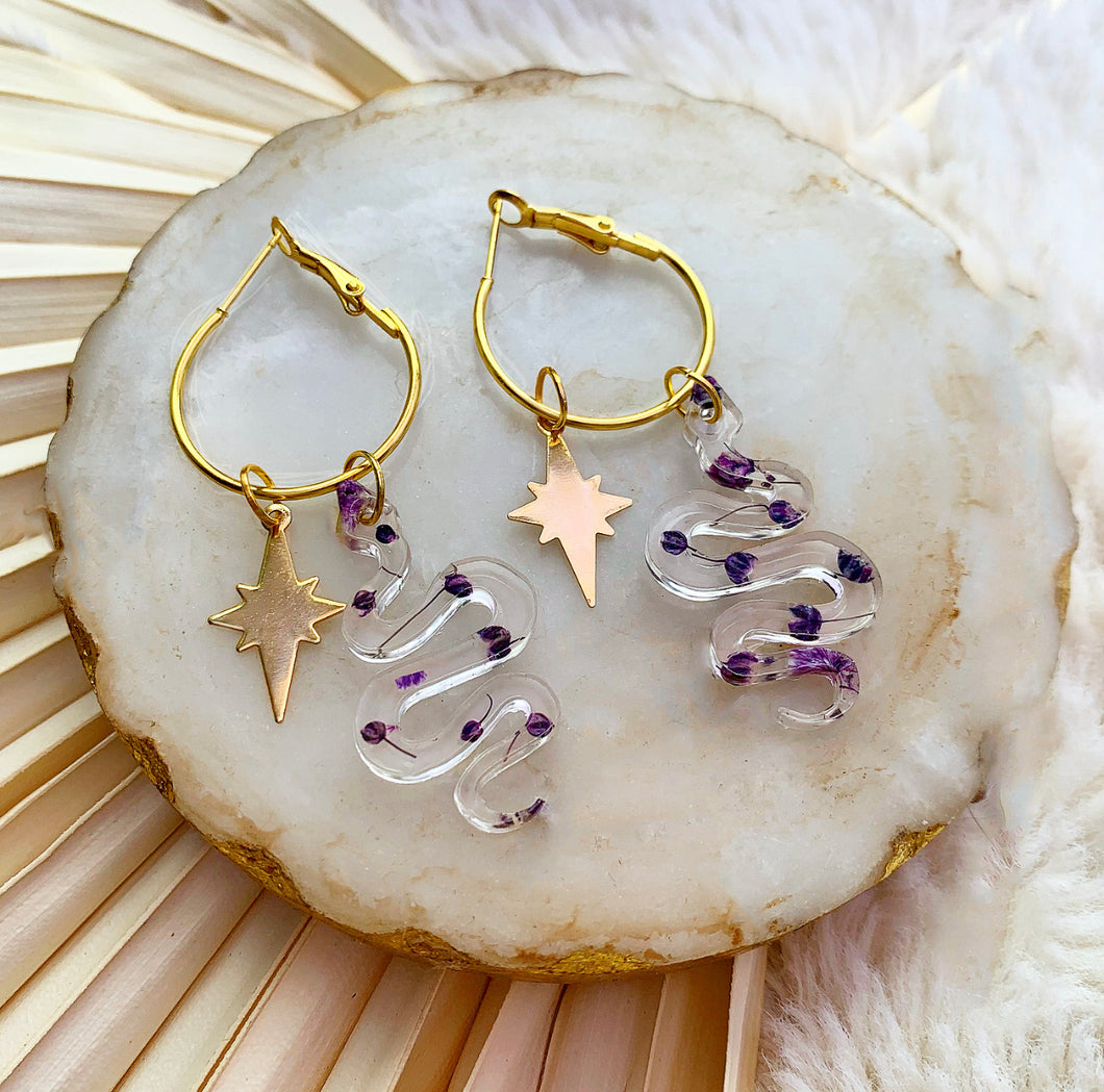 Violet Gypsophila Snake Hoops with North Star