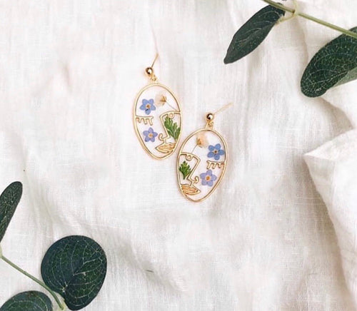 Botanical Abstract Face Earrings