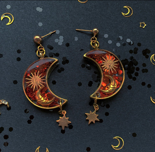 Crescent Moon, Sun and Stars Orange Glitter Stud Earrings