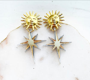 Golden Sun North Star Earrings