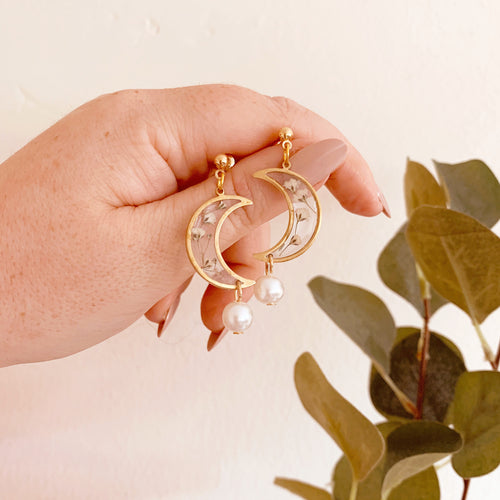 Gypsophila Crescent Moon Drop Earrings