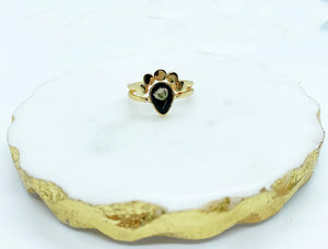 Black Gypsophila Moons Ring