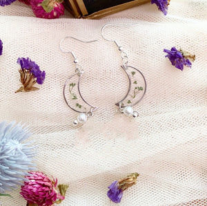 Gypsophila Crescent Moon Earrings with Faux Pearl and North Star