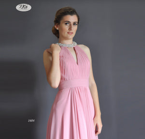 High Neck Sleeveless Formal Dress in Dusty Pink Style 1604 by Miracle Agency