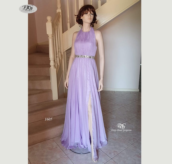 Halter Neck Sleeveless Formal Dress in Lilac Style 1605 by Miracle Agency