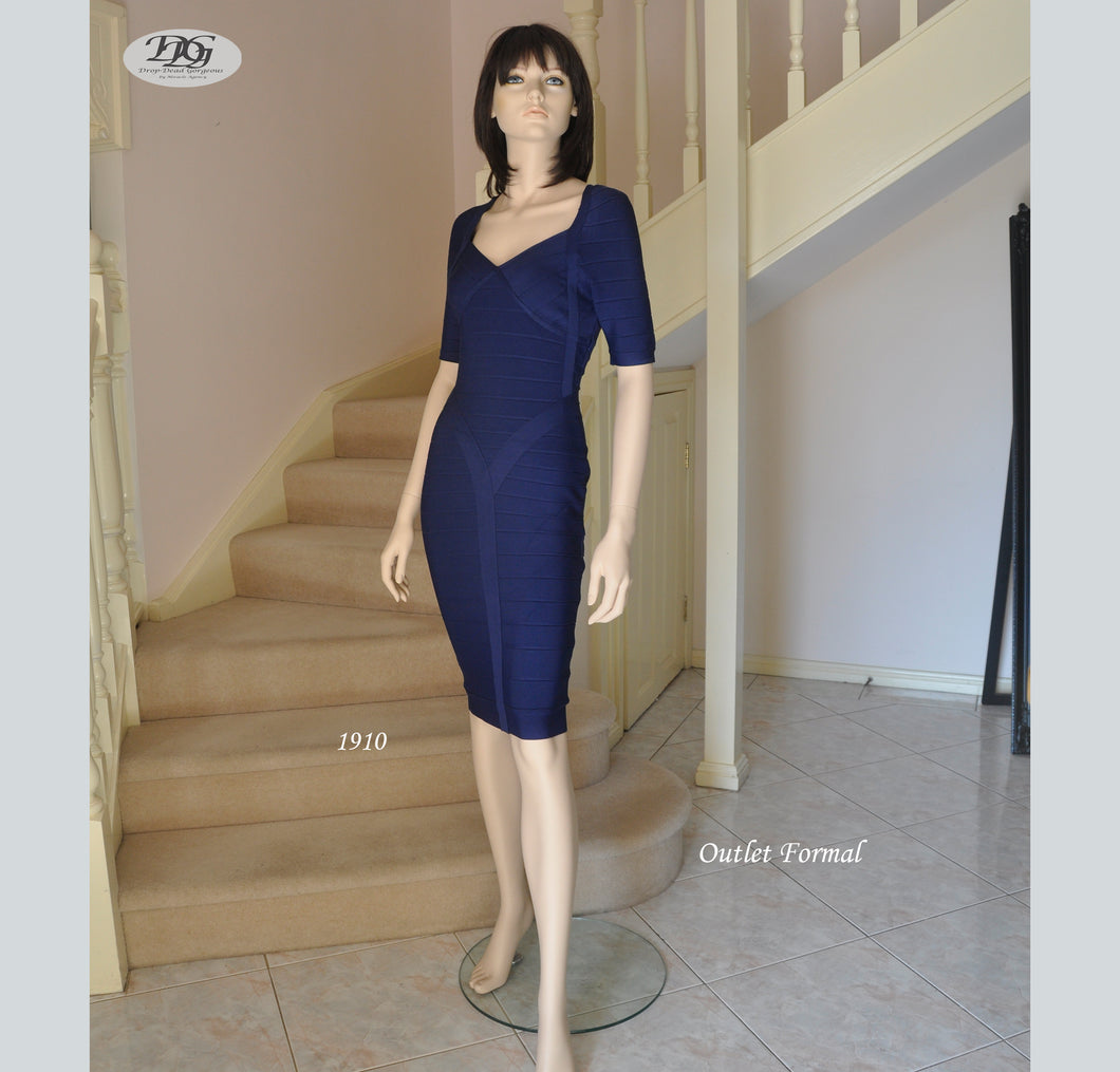 Bandage V Neckline Short Sleeve Cocktail Dress in Navy Style 1910 Size 8