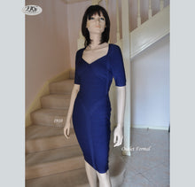 Load image into Gallery viewer, Bandage V Neckline Short Sleeve Cocktail Dress in Navy Style 1910 Size 8