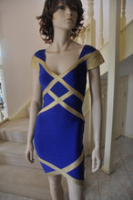 Load image into Gallery viewer, Bandage V/N Cap Slv Cocktail Dress in Royal Blue/Gold Style 1912 Size 8/10