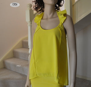 Frill Halter Neck Top in Yellow Style 1913 Size 8