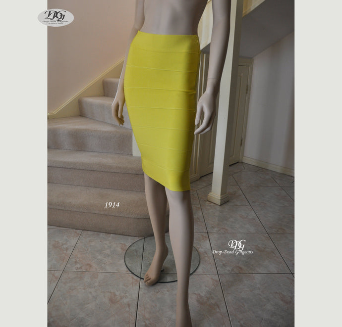 Bandage Bodycon Skirt in Yellow Style 1914 Size 8,10