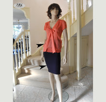 Load image into Gallery viewer, V/Neckline with Tie Front Silk Top Style 1917 in Orange Size 8