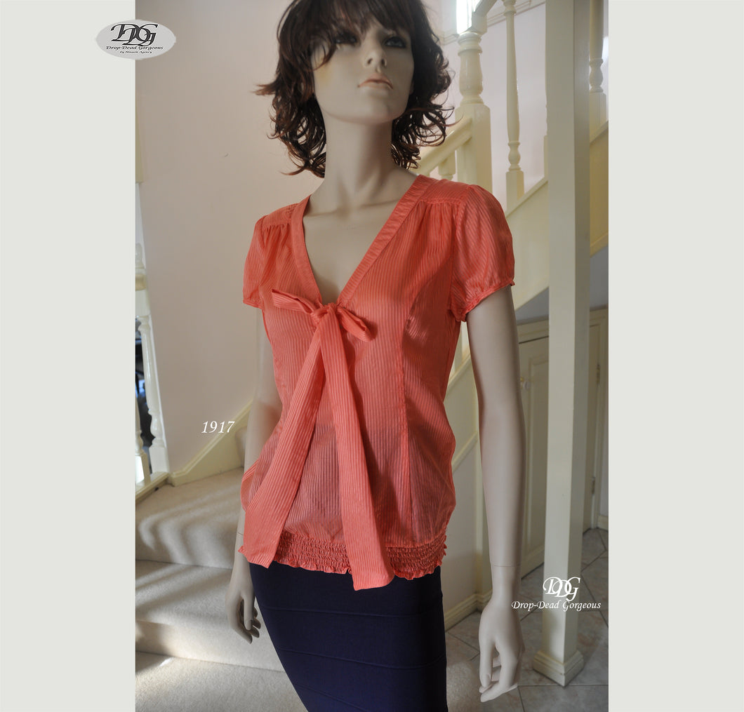 V/Neckline with Tie Front Silk Top Style 1917 in Orange Size 8