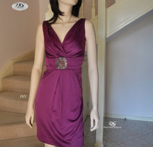 Load image into Gallery viewer, V/N Satin Cocktail Dress in Purple Style 1921 Size 8/10