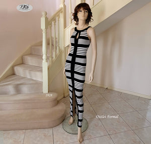 Scoop Neck Stripe Maxi Dress in Black/Ivory Style 1928 Size 6/8