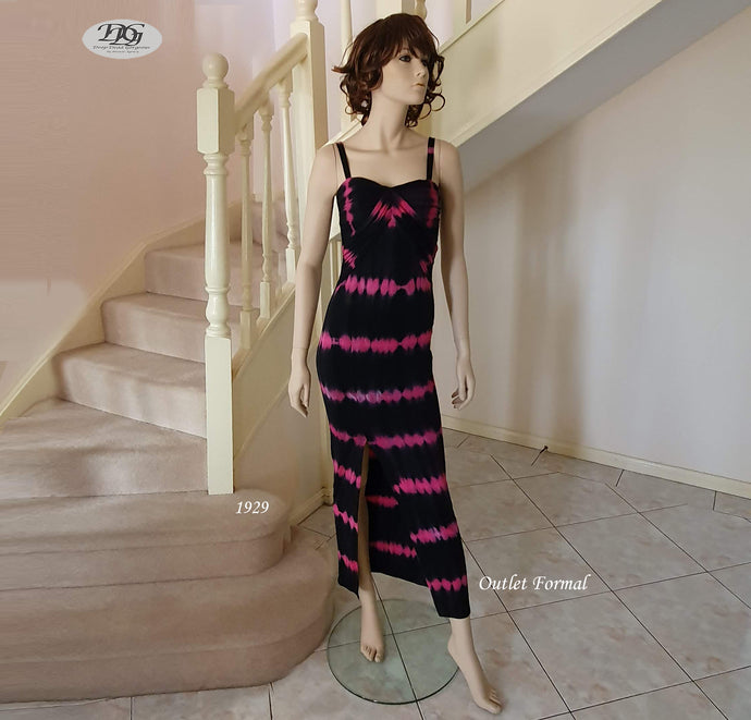 Sweetheart Neck Ruched Bust Stripe Maxi Dress in Fuchsia/Black Style 1929 Size 6/8