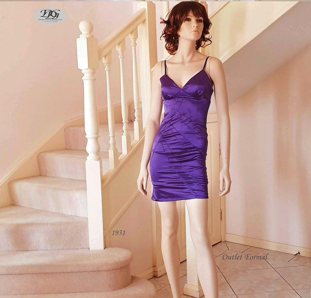 V/N Shoestring Straps Cocktail Dress in Purple Style 1931 Size 6/8
