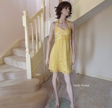 Load image into Gallery viewer, Halter Neck Wrap Detail Bust Silk Cocktail Dress in Yellow Size 10/12