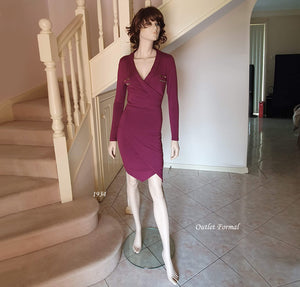 Long Sleeve Wrap V/N Cocktail Dress in Burgundy Style 1934 Size 8
