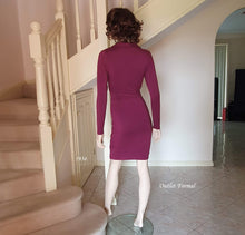 Load image into Gallery viewer, Back image of Long Sleeve Wrap V/N Cocktail Dress in Burgundy Style 1934 Size 8