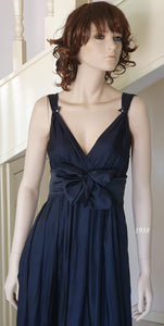 V/V Neck Cocktail Dress in Dark Navy Style 1938 Size 10/12
