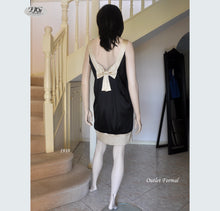 Load image into Gallery viewer, Scoop Neck Silk Dress Style 1939 Size 10/12 in Black/Champagne