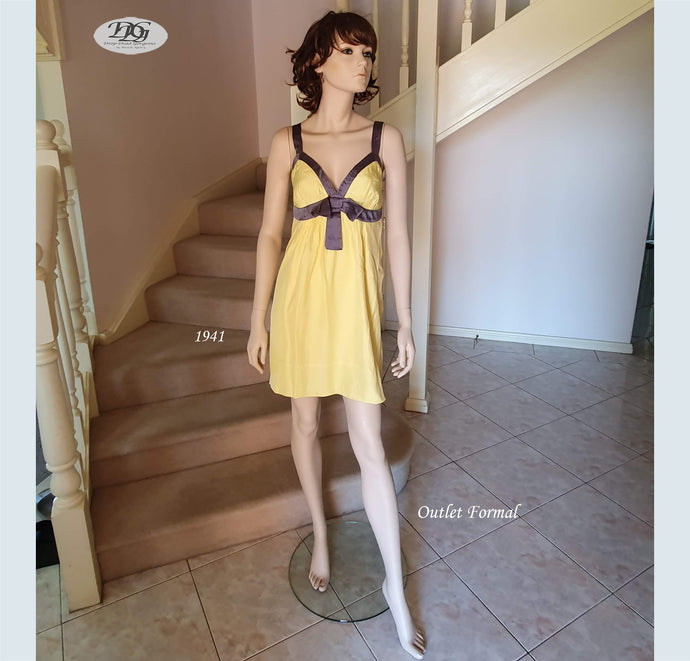 V/Neck Silk Dress Style 1941 Size 12/14 in Yellow/Grey