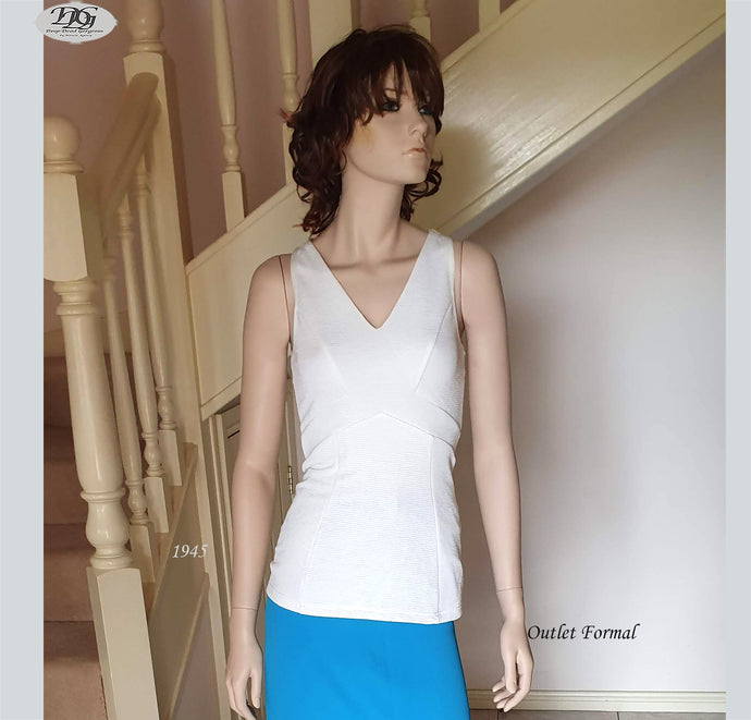 V Neck Panelling Detailed Top in Off White/Ivory Style 1945 Size 8