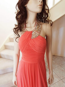 Beaded Halter Neck Formal Gown in Coral Size 8