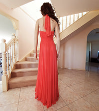 Load image into Gallery viewer, Beaded Halter Neck Formal Gown in Coral Size 8