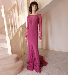 L/S illusion Plunge Neck Lace Inserts Gown in Dusty Rose Style 3328 by Miracle Agency