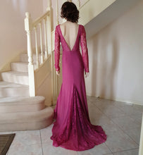 Load image into Gallery viewer, L/S illusion Plunge Neck Lace Inserts Gown in Dusty Rose Style 3328 by Miracle Agency