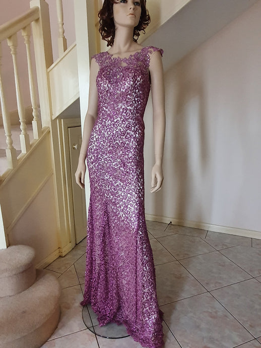 S/less Mermaid Beaded Lace Gown in Liliac Style 1016 by Miracle Agency