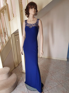 Square Neckline Gown in Royal Blue Style 2201 by Miracle Agency
